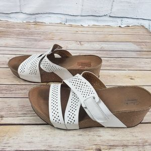 Clark's white strap cork wedges